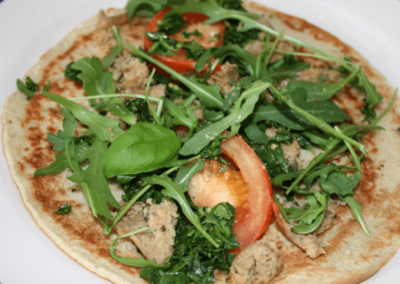Vegan Brunch Pesto & Sausage Crepe with Rocket & Tomato